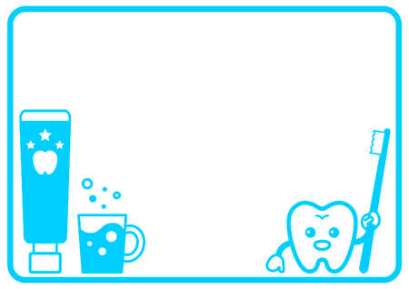 Decorative frame of toothpaste, toothbrush and tooth character
