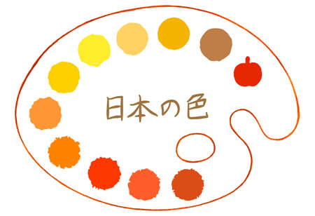 Yellow polka dot material drawn on the palette [set] / The characters in the image are Japanese means