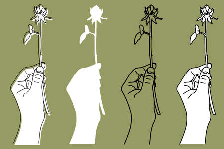A simpleillation of a hand holding a single rose[3 colors]