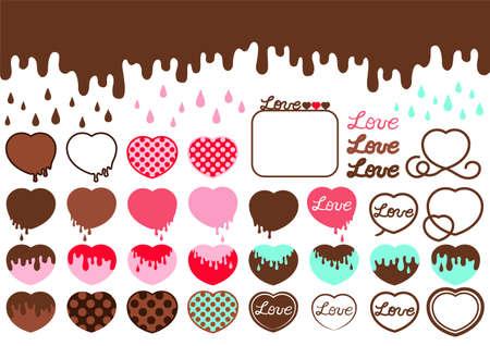 Heart-shaped chocolate and melting chocolate illustration set