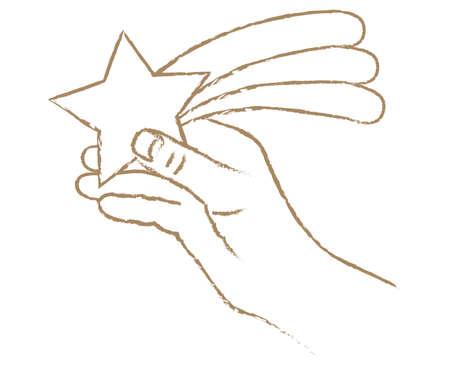 Illustration of a hand grasping a rising star Vektorgrafik