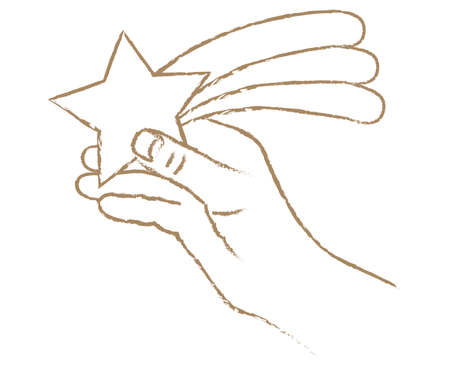 Illustration of a hand grasping a rising star