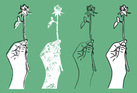 Illustration of a hand holding a single rose drawn on a green background [4 variations]