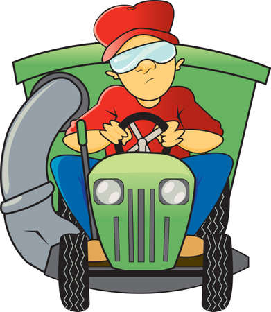 A man is sitting down on a green riding lawn mower with a bag attachment wearing safety goggles mowing the lawn Ilustrace