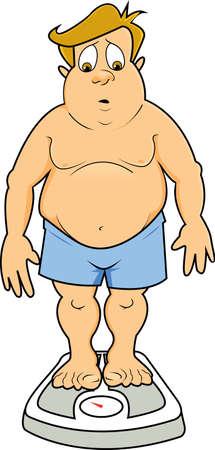 Een man met overgewicht in ondergoed op een schaal naar beneden te kijken naar het aantal en kijken verbaasd