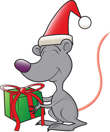 A cartoon mouse wearing a stocking cap giving a Christmas present
