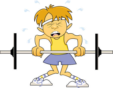 scrawny: A skinny, scrawny young man wearing a tank top attempts to lift a barbell with light weight while sweating profusely and buckling at the knees Stock Photo