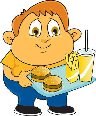 obesidad infantil: Un estudiante de la escuela con sobrepeso camina a través de la cafetería de la escuela con su bandeja de comida que contiene hamburguesas y papas fritas con un refresco grande