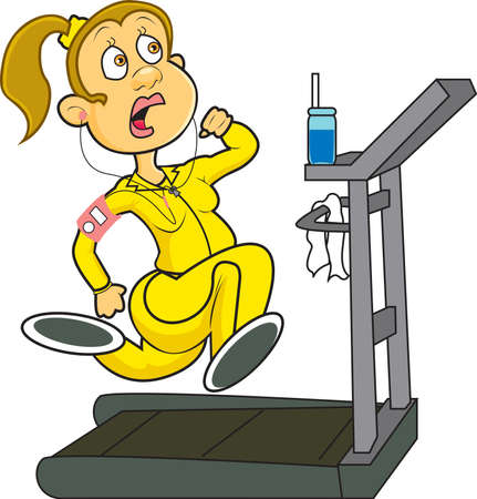 exercise cartoon: A woman at the gym wearing yellow workout gear running on a treadmill while listening to her MP3 player