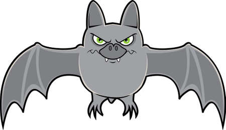 A grey colored vampire bat spreading its wings and shows its fangs
