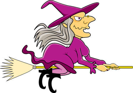 An old, ugly witch sitting and flying on her broomstick on Halloween wearing a purple dress as her grey hair floats in the air