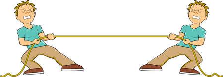 ein Mann ein Seil ziehen in einem Tauziehen mit sich, als er den Kampf innerhalb kämpft
