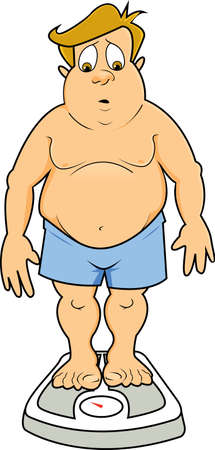 An overweight man in underwear standing on a scale looking down at the number and looking surprised