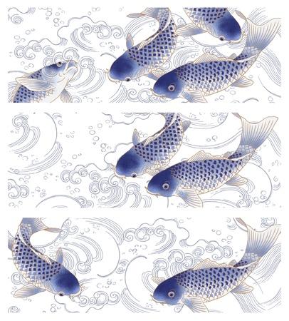 pez carpa: pintura tradicional japonesa