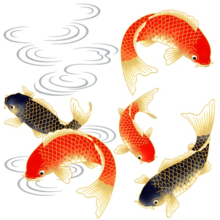 pez carpa: la pintura tradicional japonesa Foto de archivo