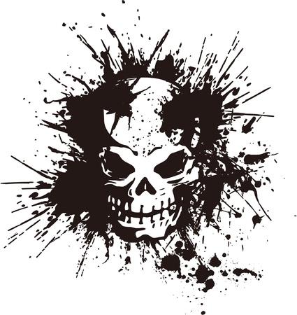 skull tattoo: spatten en de schedel