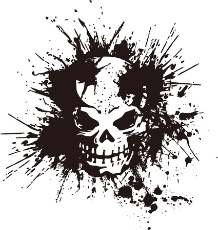 skull tattoo: splatter and the skull