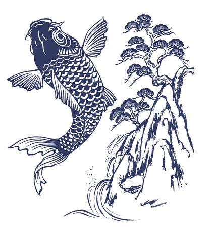 freehand tradition: A Japanese carp