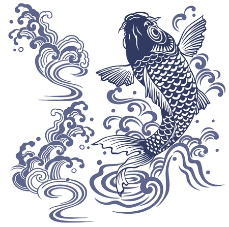 traditional tattoo: Japanese carp Stock Photo