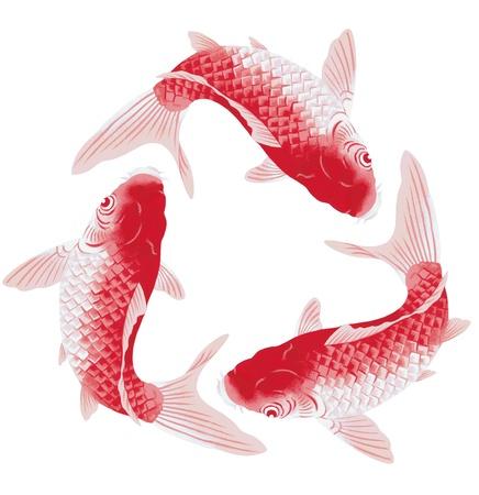 freehand tradition: Japanese carp Stock Photo