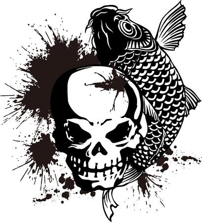 De schedel en een karper Vector Illustratie