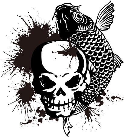 The skull and a carp Vector