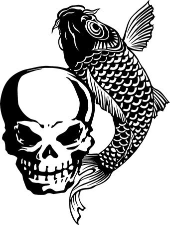 devil fish: The skull and a carp