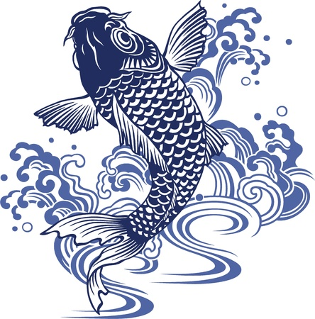 tattoo traditional: Carpa giapponese Vettoriali