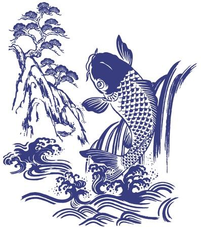 Carpa giapponese Vettoriali