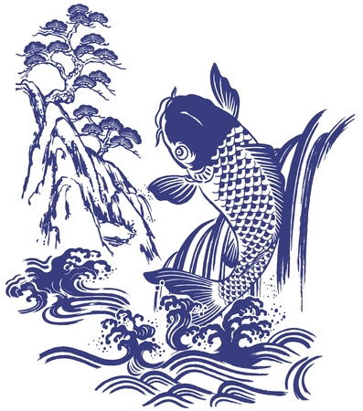 sumi: Japanese carp Illustration