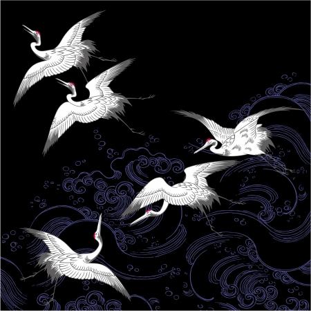 waterside: A Japanese crane