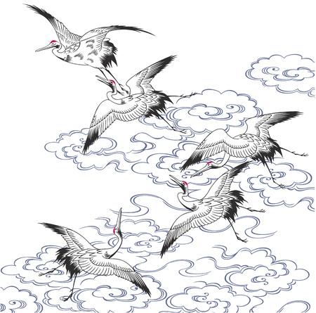 oiseau dessin: Une grue japonaise