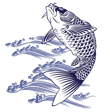 freehand tradition: Japanese carp Illustration