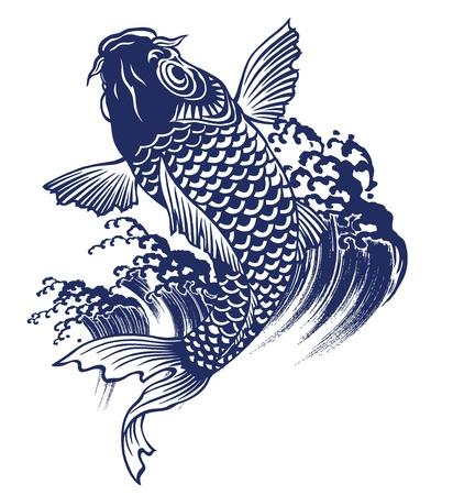 ukiyoe:  carp Illustration