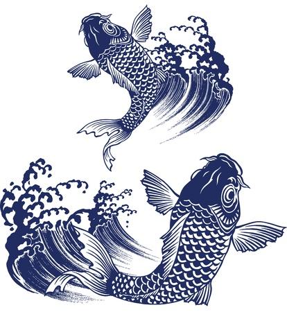 jumping carp:  carp Illustration