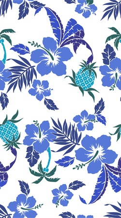 Hibiscus and a pineapple Stock Vector - 21544509