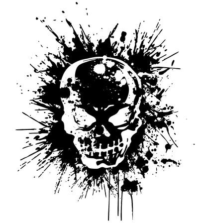 splatter skull Illustration