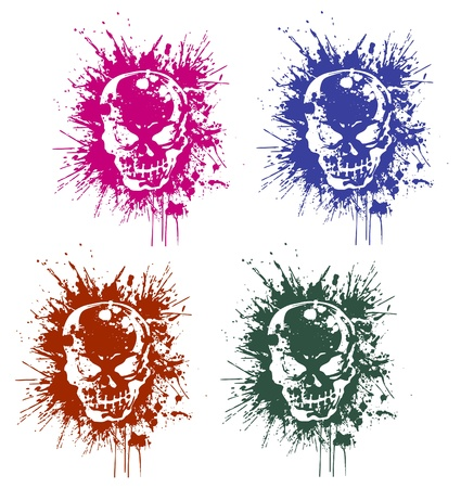 rebellious: splatter skull Illustration