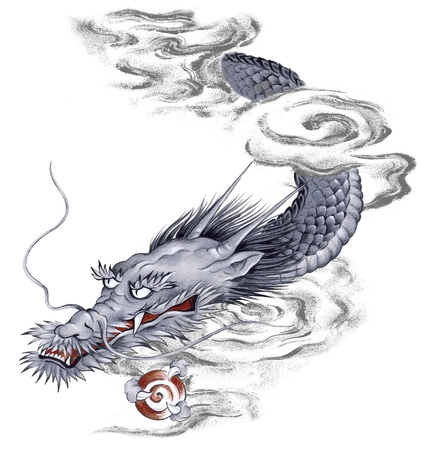 Japanesque dragon Standard-Bild