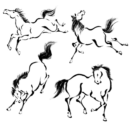 and sumi: Oriental horse Stock Photo