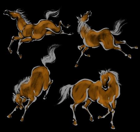 ukiyoe: Oriental horse Stock Photo