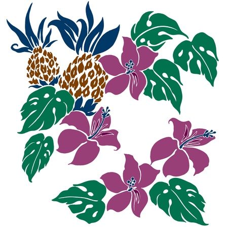 everlasting: Hibiscus and pineapple Illustration
