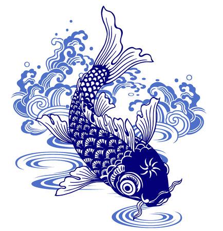 ukiyoe: Japanese carp, Illustration