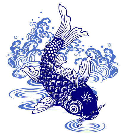 jumping carp: Japanese carp, Illustration