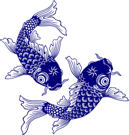 sumi: Japanese carp, Illustration