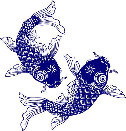 Japanese carp, Stock Illustratie