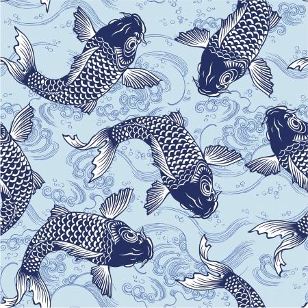 ukiyoe: Japanese carp seamlessly Illustration