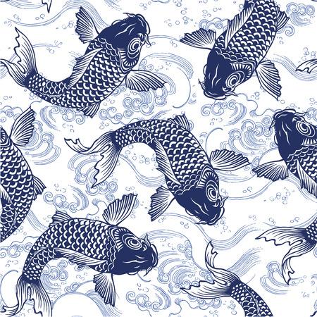 japanese garden: Japanese carp seamlessly Illustration