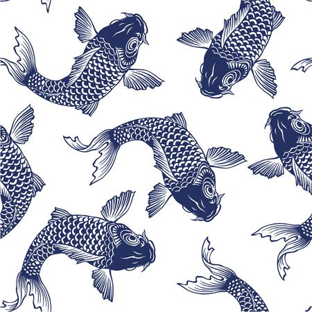 Japanese carp seamlessly Illustration