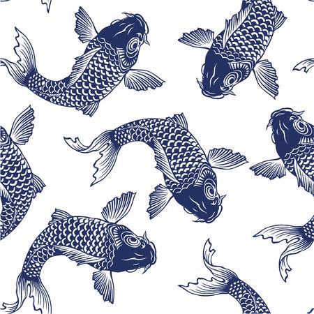 swimming carp: Japanese carp seamlessly